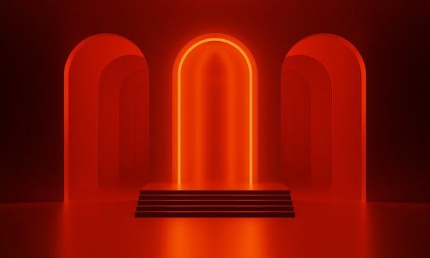 アーチとネオンレッドの照明が付いた暗赤色の空の部屋で3dモックアップ表彰台。製品プレゼンテーションのための抽象的なミニマルな明るいトレンディな背景。ミッドセンチュリースタイルのモダンなプラットフォーム。