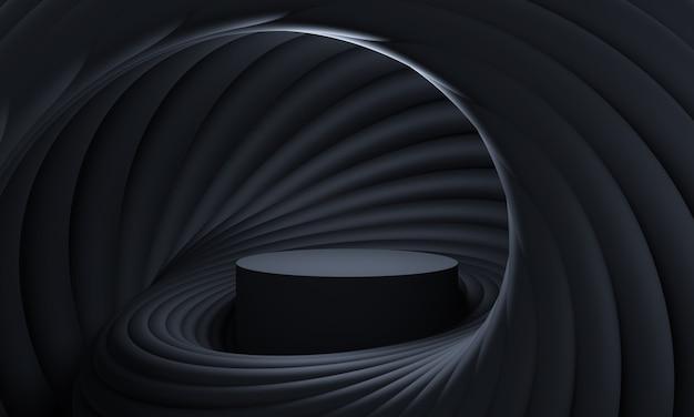 3dは、黒いパレットの丸みを帯びた幾何学的形状の未来的なスパイラルで表彰台をモックアップします。製品や化粧品のプレゼンテーションのための抽象的なモダンなプラットフォーム。現代的なスタイリッシュな背景