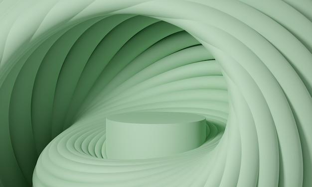 ライトグリーンまたはオリーブのパレットで丸みを帯びた幾何学的形状の未来的なスパイラルで表彰台を3dモックアップします。製品や化粧品のプレゼンテーションのための抽象的なモダンなプラットフォーム。現代的なスタイリッシュな背景