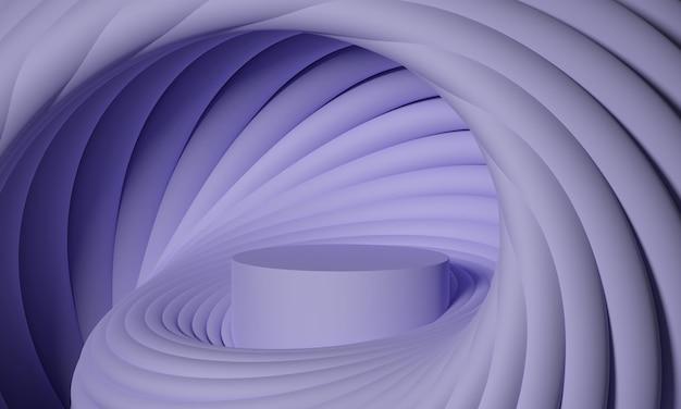 電気ラベンダーパレットの丸みを帯びた幾何学的形状の未来的なスパイラルで3dモックアップ表彰台。製品や化粧品のプレゼンテーションのための抽象的なモダンなプラットフォーム。現代的なスタイリッシュな背景