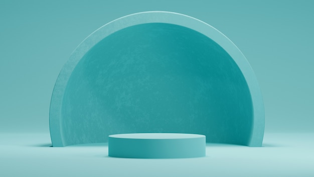 3d-макет подиума в мятной цветовой гамме с полусферой или аркой