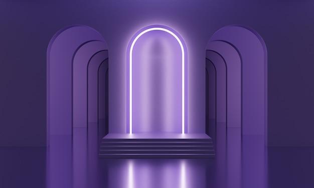 アーチとネオンライラックの照明が付いた紫色の空の部屋で3dモックアップ表彰台。製品プレゼンテーションのための抽象的なミニマルな明るいトレンディな背景。ミッドセンチュリースタイルのモダンなプラットフォーム。