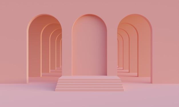 3d는 제품 프레젠테이션을 위한 아치가 있는 빈 추상적인 미니멀리즘 복숭아색 방에서 연단을 조롱합니다. 베이지 또는 모래 팔레트의 미드 센츄리 스타일의 세련된 현대적인 플랫폼. 3d 렌더링