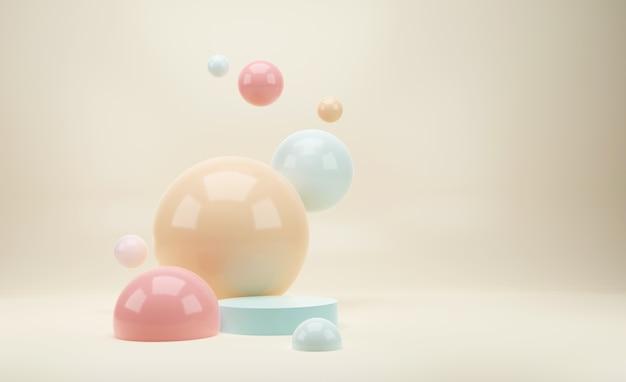 3d макет подиума в светло-розовых и голубых тонах с блестящими шарами или сферами