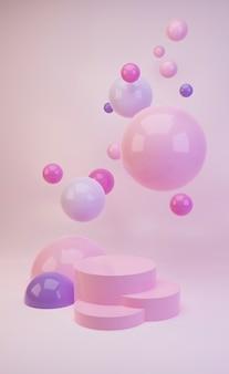 3d-макет подиума в сладких розовых и фиолетовых тонах с блестящими розовыми шарами или сферами, летающими в воздухе.