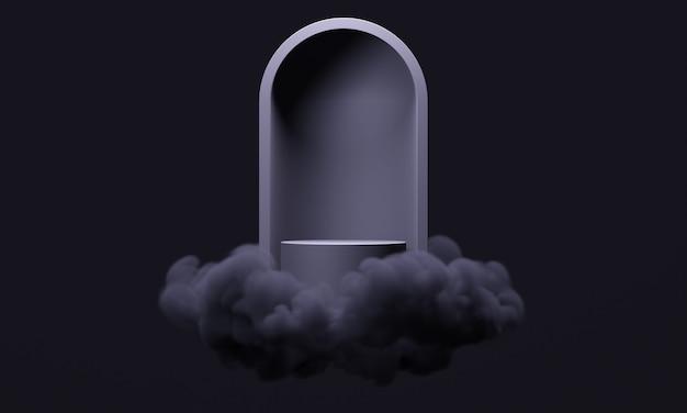 3d-макет подиума с абстрактной аркой в облаках или дым в стильном темном дизайне. минималистичная современная площадка для презентации продукции в черном цвете.