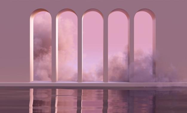 雲の中の水の上に抽象的なアーチで表彰台をモックアップしたり、自然なピンクの夕日の光で煙を上げたりします。ミッドセンチュリースタイルの製品プレゼンテーションのための抽象的な流行の自由奔放に生きる背景。