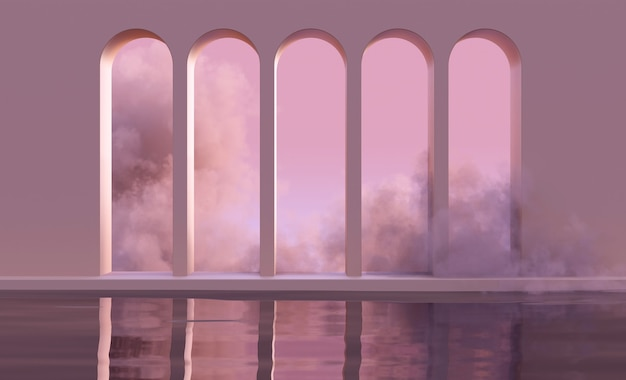 3d mock up podium with abstract arches on water in clouds or smoke in natural pink sunset light. abstract trendy boho background for product presentation in mid century style.
