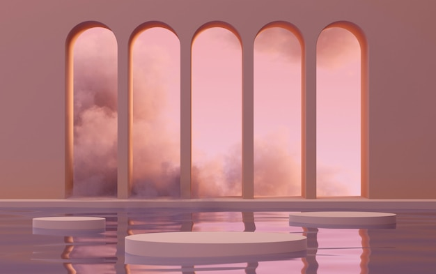 3d mock up podium with abstract arches on water in clouds in sunset pink light