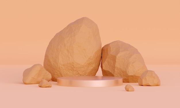 砂または桃のパレットで抽象的な天然石で表彰台をモックアップ3d製品または化粧品のプレゼンテーションのためのモダンなプラットフォームナチュラルミニマルなトレンディな土またはベージュの背景