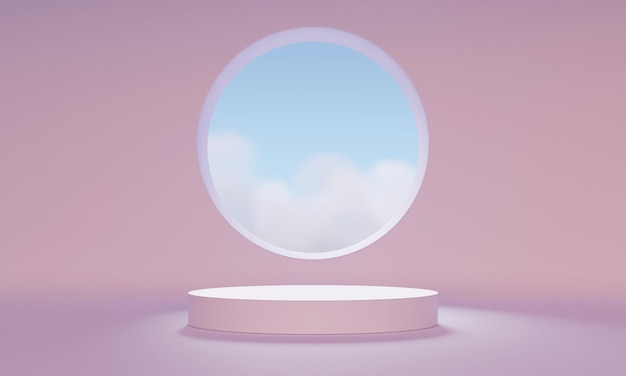 3d mock up podium with an abstract round window in a light pink room. minimalistic mid century trendy background for product presentation. modern platform.