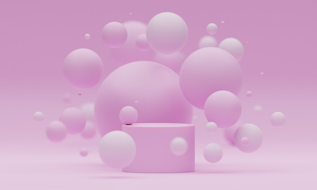 3d mock up podium with flying spheres or balls on a light pink background. bright stylish modern platform for product or cosmetics presentation. render scene with geometric shapes.