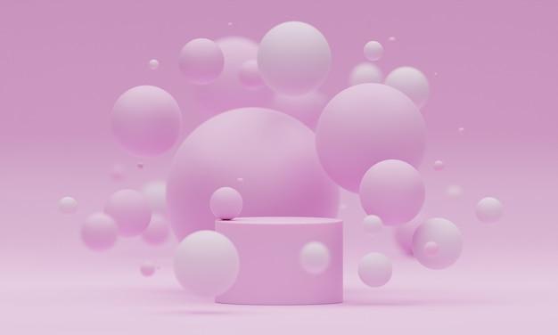 淡いピンクの背景に飛んでいる球体またはボールで表彰台をモックアップします。製品や化粧品のプレゼンテーションのための明るくスタイリッシュなモダンなプラットフォーム。幾何学的形状でシーンをレンダリングします。