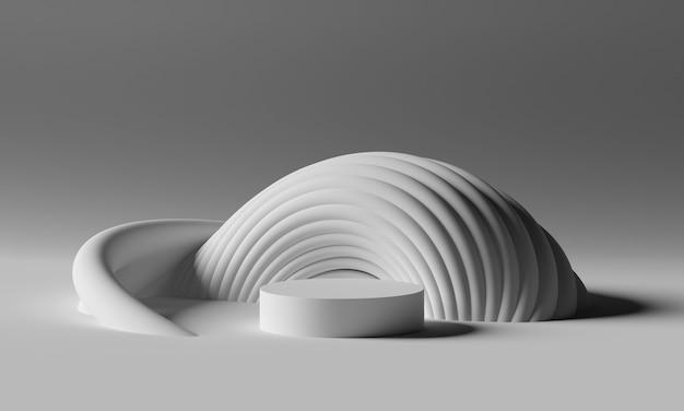 灰色のパレットでミニマルな未来的な幾何学的形状を備えた3dモックアップ表彰台。製品や化粧品のプレゼンテーションのための抽象的なモダンなプラットフォーム。現代的なスタイリッシュな背景