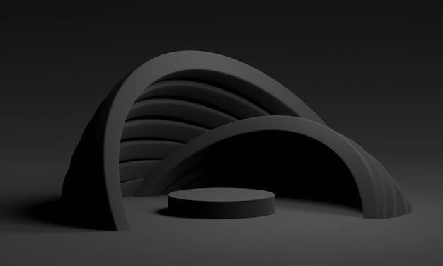 完全な黒のミニマルな幾何学的なアーチを備えた3dモックアップ表彰台。製品や化粧品のプレゼンテーションのための抽象的なモダンなプラットフォーム。現代的なスタイリッシュな劇的な背景