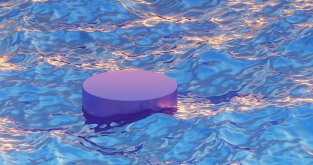 青い水の中で紫の表彰台を 3d モックアップ