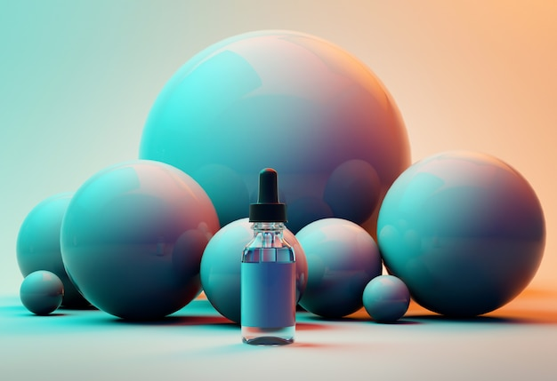 3d mock up render of oil bottle