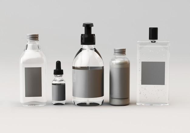 3d mock up render of a set of bottles for care