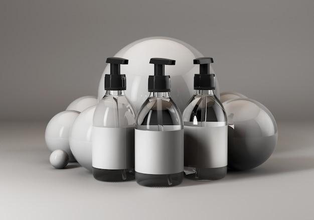 3d mock up render of soap bottles