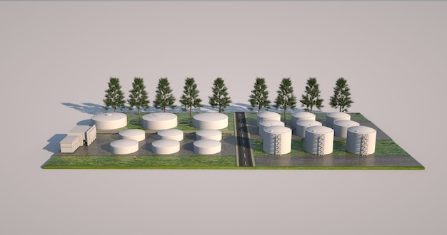 3d model of factory and plant area, construction project. volumetric design elements, arrangement of buildings, boilers and planting.