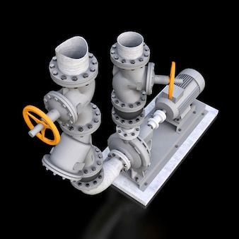 3d model of an industrial pump and pipe section with shut off valves on a black isolated background. 3d illustration.