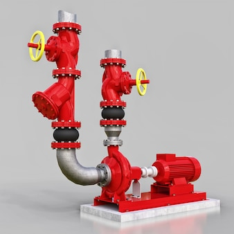 3d model of an industrial pump and pipe section with shut off valves on a gray isolated