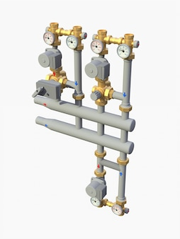 3d model industrial pump and pipe section with shut off valves on white background 3d illustration