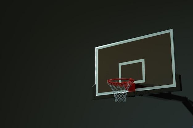 孤立した明るい、暗い、灰色の背景にグリッドを持つバスケットボールフープの3dモデル。 3dグラフィックス、バスケットボール用スポーツリング、ボール投げ