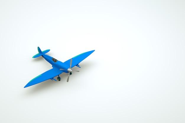 正面にプロペラが付いた青い飛行機の3dモデル。白い孤立した背景上の青い回転翼航空機オブジェクト。 3dグラフィックス、クローズアップ
