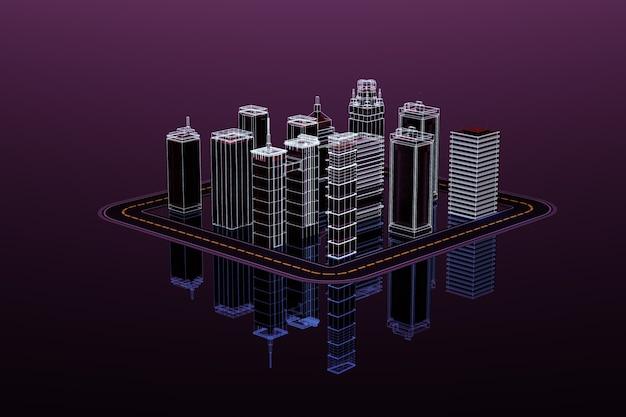 고층 빌딩과 고속도로 도로가 있는 도시의 3d 모델. 어두운 보라색 배경에 고립 된 고층 빌딩의 3d 그림. 3d 그래픽