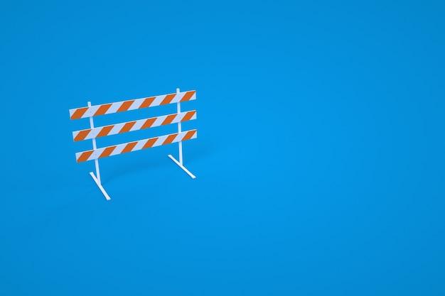 건설 장벽의 3d 모델. 경고 장벽, 건설 도구. 파란색 배경입니다. 컴퓨터 그래픽