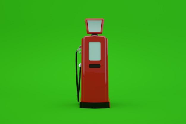 緑の孤立した背景に車に燃料を補給するためのガスポンプの3dモデル。ガソリンの赤い駅。車に燃料を補給する。閉じる