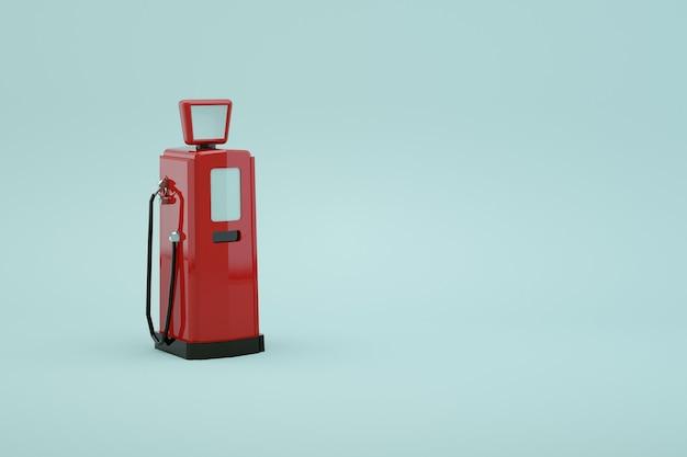 3d модель бензонасоса для заправки автомобиля на белом изолированном фоне. красная станция для бензина. заправка машины. крупный план