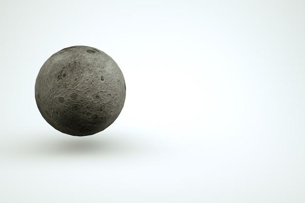 大きな球の3dモデル、白い孤立した背景上の完全な灰色の月。 3dグラフィックス、満月の孤立したオブジェクト。閉じる