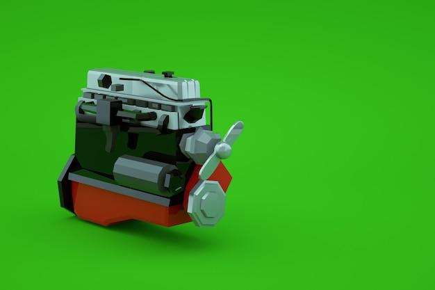 緑の孤立した背景上の赤い大きなピストンの機械部品の3dモデル。機械部品、修理、修理。赤い大きなピストン。閉じる