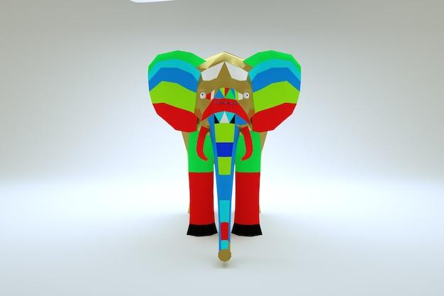 白い孤立した背景上のマルチカラーグラフィック象の3dモデル。 3dグラフィックス、国の色とりどりの象。閉じる
