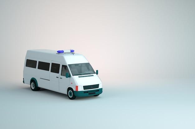 警察のトラック、var、白い孤立した背景に点滅するライトが付いているパトカーの3dモデル。 3dグラフィックス、クローズアップ