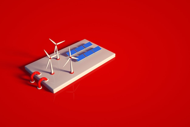 3d-модель электростанции с солнечными батареями и ветряной электростанцией. объект солнечной станции на красном фоне изолированных. вид сверху, вид сбоку