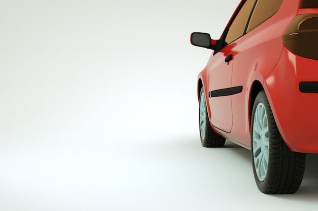 赤い車、白い孤立した背景の上の車のトランクの3dモデル。白い背景の上の赤い車のトランクの特定の部分。閉じる