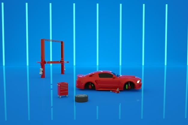 3d модель красной машины на синем изолированном фоне в ремонтируемом гараже. реалистичный красный изометрический автомобиль на синем фоне. везде выкладываются запчасти для ремонта машины. замена шин