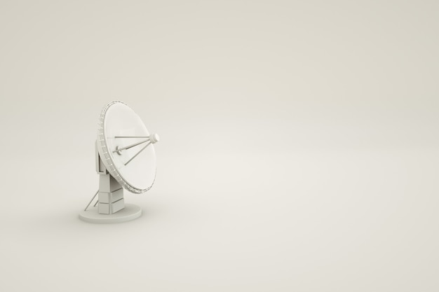 격리 된 흰색 배경에 둥근 tv 안테나의 3d 모델 위성 tv 안테나 3d 아이소 메트릭