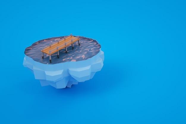 水を渡る小さな橋の3dモデル。色付きの背景に橋を架けます。コンピュータグラフィックス用の3dオブジェクト。青い背景の上の孤立した橋 Premium写真