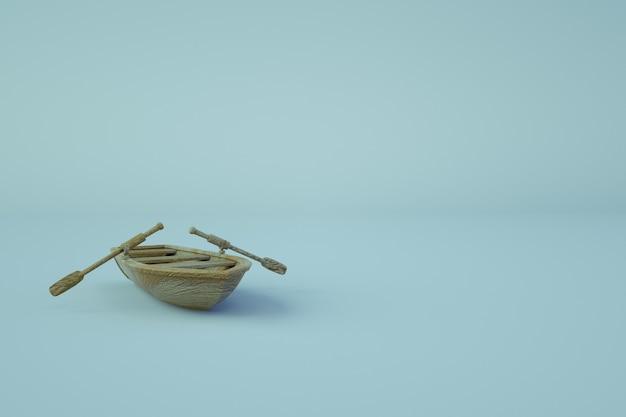 オール付き木製ボートの3dモデル。明るい、青の孤立した背景に漕ぐための木製ボート。 3dグラフィックス、クローズアップ