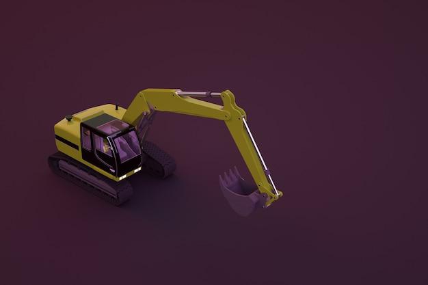 大きなバケツを備えた黄色の掘削機の3dモデル。 3dグラフィックス、孤立した暗い背景の掘削機オブジェクト。暗い背景、クローズアップの黄色の建設車。
