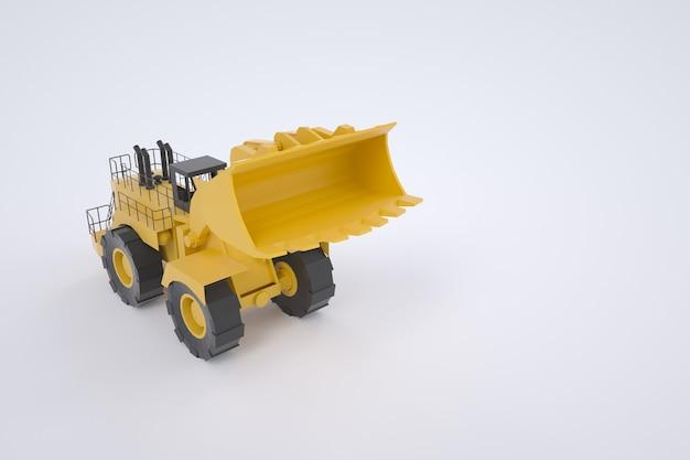 黄色いトラクターの3dモデル。建設工事用機械。グラフィック、3dモデル。白い背景の上の孤立したトラクター。バケットを上げたトラクター