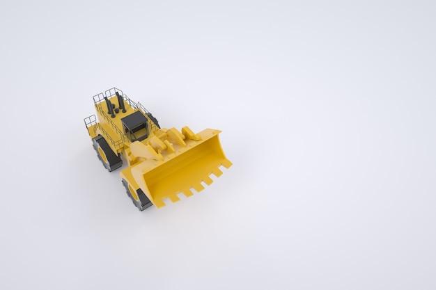 黄色いトラクターの3dモデル。トラック、シャベル付きトラクター。グラフィック。白い背景の上の孤立したトラクター。