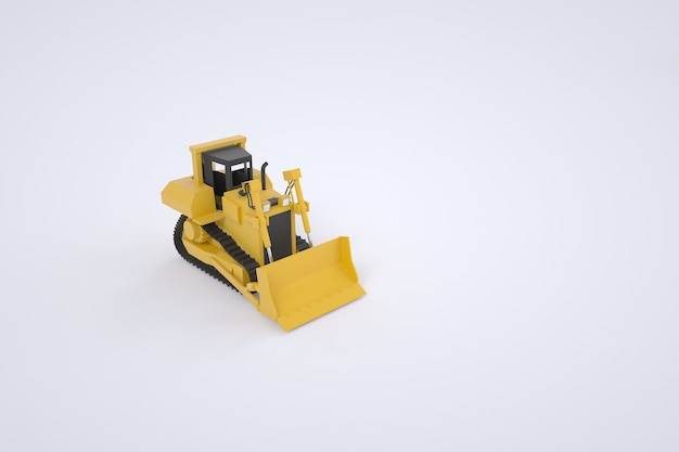 バケット付きの黄色いトラクターの3dモデル。建設のための特別な機器。グラフィック、モデル。白い背景の上の孤立したトラクター。
