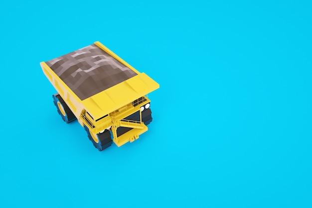 地面のある黄色いトラックの3dモデル。黄色のkamaz。建設工事用機械。 3dグラフィックス。青い背景の上の孤立したトラック。