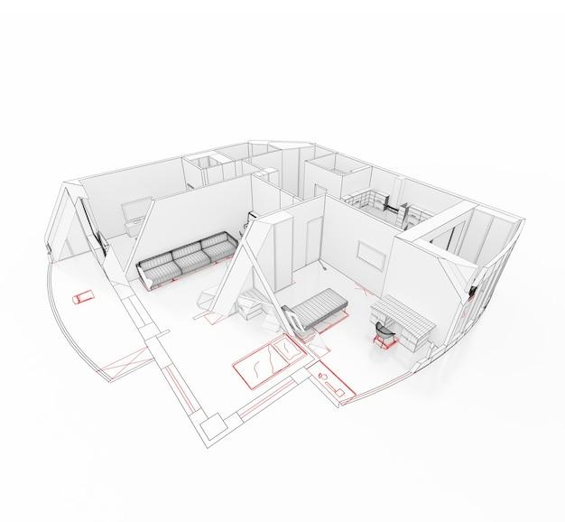 カットの図面上のアパートの3dモデル。孤立