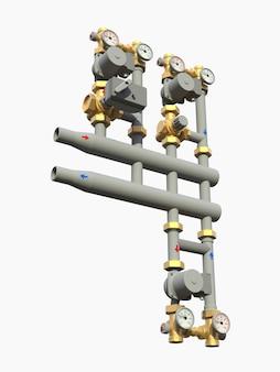 차단 밸브 3d 일러스트와 함께 산업용 펌프 및 파이프 섹션의 3d 모델